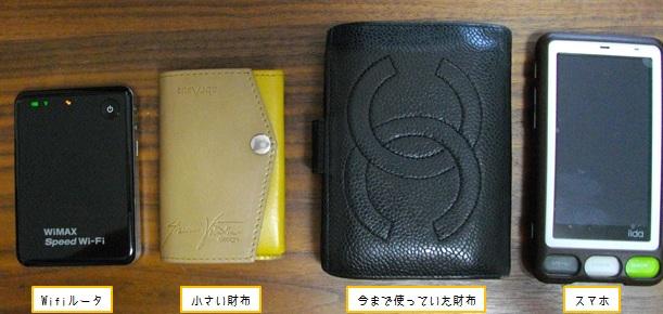 小さい財布と、従来の財布やスマホのサイズ比較