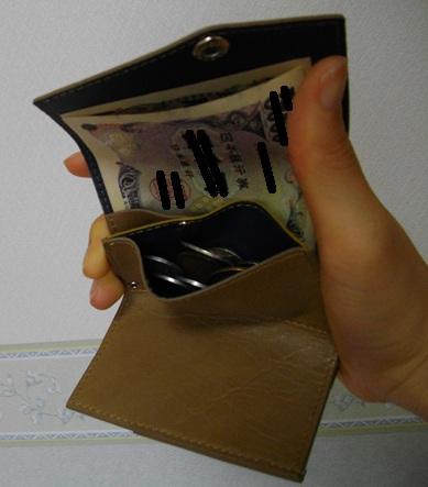 小さい財布に小銭13枚を入れたところ
