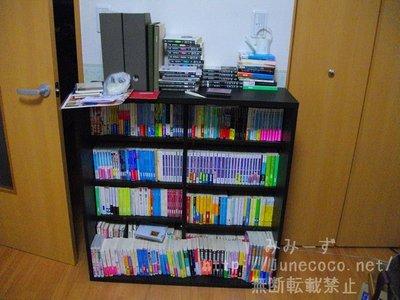 新規本棚に本を移す前の既存の本棚。前面や上に本があふれている