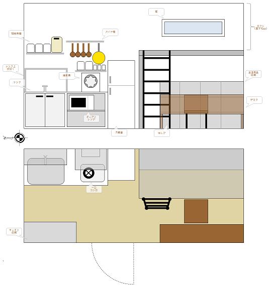 左半分が玄関&キッチン、右半分がロフトベッド&収納&デスク。ロフトには大きめの窓をつけた。内装は、白い壁に木の色を活かした床。
